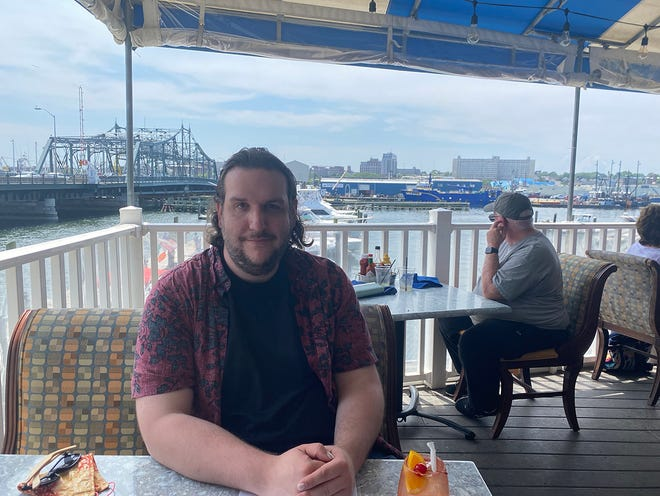 Seth Chitwood aka The Newbie enjoys a meal at Fathoms Bar & Grille in New Bedford.