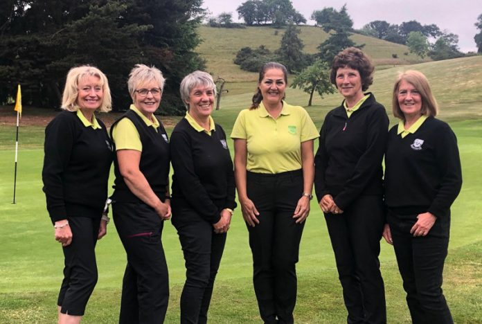 The successful team over the first two rounds: Sally Weaver, Alison Grove, Angela Hinton, Soheila Stadnik, Suzanne Huxley (Team Manager) and Vanessa Statham