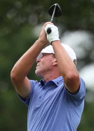 Steve Stricker hits the 17th tee during the second round of the Bridgestone Senior Players Championship at Firestone Country Club in Akron on Friday, June 25, 2021.