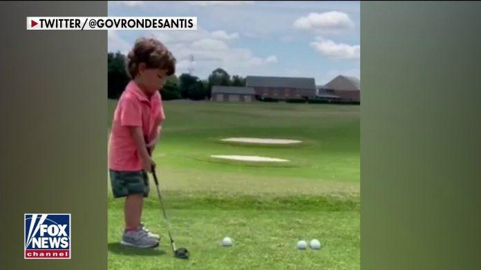 DeSantis viral tweet shows 3 year old son's golfing skills: