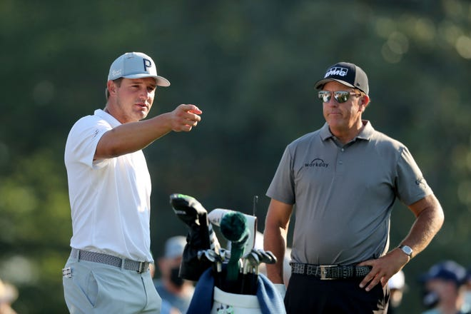 Bryson DeChambeau (left) and Phil Mickelson (right) found themselves in the middle of rare controversies involving PGA Tour players and the media during the Rocket Mortgage Classic earlier this month. [Times-Union file]