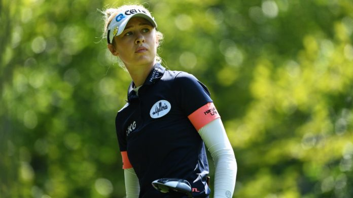 Nelly Korda's opening 74 at Evian included a whiff of a bunker shot