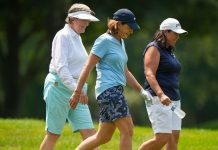 Carol S. Thompson with Juli Inkster and Pat Hurst as they walk off of the 7th tee during a practice round at the 2021 U.S. Senior Women's Open at Brooklawn Country Club