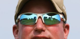 Kevin Graap's role at The Virtues Golf Club is reflected in his sunglasses.  As superintendent, he is responsible for maintaining the course.
