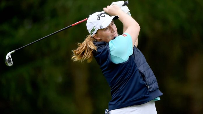 Gemma Dryburgh of Scotland on the 14th tee during Day Two of The ISPS HANDA World Invitational