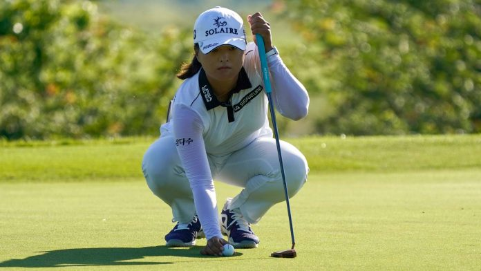 Jin Young Ko of Korea lines up a putt on the tenth hole during the first round of the Volunteers of America Classic