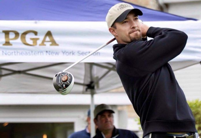 On the fairway: Gardner from Edison Club teeing off for a good cause