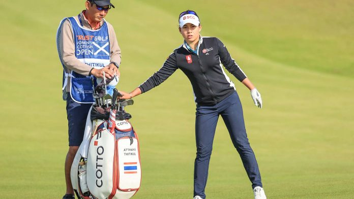Atthaya Thitikul of Thailand plays her second shot on the third hole during the first round of the Trust Golf Women's Scottish Open