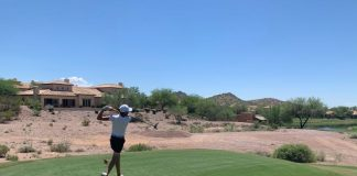 Colton Estevez on hole 18 at the 78th Arizona Open Championship on August 2, 2021.