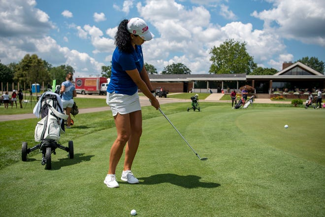 """Shasta Averyhardt from Flint.  Michigan trains for the Symetra Tour on Tuesday, August 3, 2021 at the Battle Creek Country Club.  The 14th stop on the """"Road to the LPGA"""" 2021 leads the Symetra Tour to the Battle Creek Country Club from Friday to Sunday."""