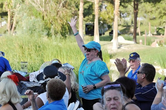 Horace Langford Jr./Pahrump Valley Times Electrified with excitement, local resident Sherry Sta ...