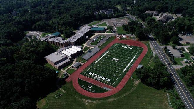 The Kinnelon NJ High School football team makes its debut on an artificial turf pitch