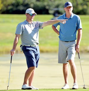 Charlie Jacobson of Sioux Falls (left), a 1998 Watertown High School graduate, and Brad Jacobson of Bryant are pictured winning the South Dakota Golf Association's Mid-Am Two-Man Championship at the 2016 Cattail Crossing in Watertown.  The Jacobsons won the Sioux Falls tournament again this weekend, shooting a 13-under 129 (68-61) to win in one fell swoop.
