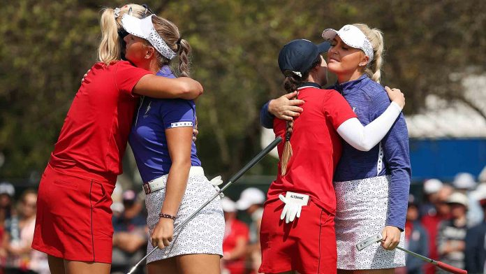 Teams during the Morning foursomes on Day 1 of the Solheim Cup
