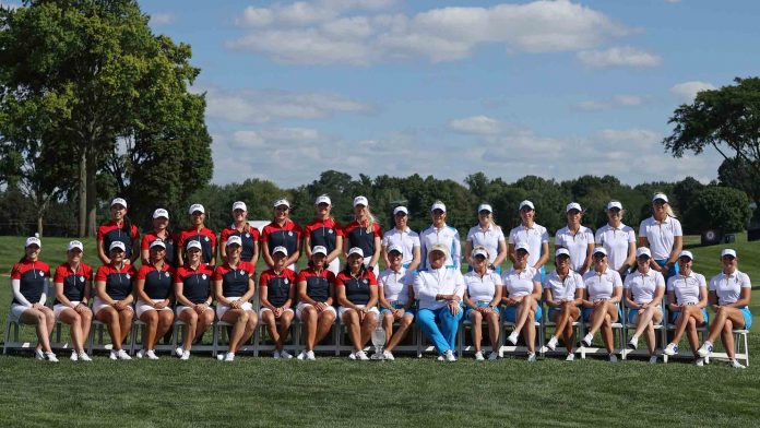 Team Europe and Team USA ahead of the Solheim Cup